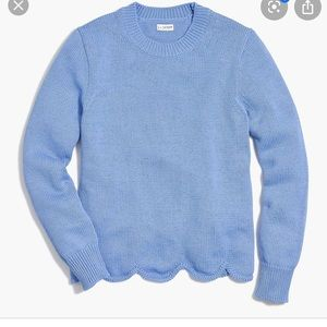 J.Crew Factory Blue Scalloped Sweater Size S